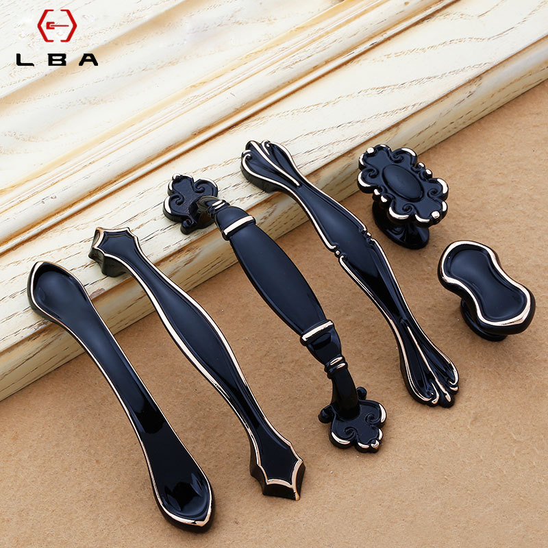 LBA European Style Furniture Cabinet Door Handle Black Bedroom Decorative Knobs Kitchen Cabinet Handles Hardware Accessories