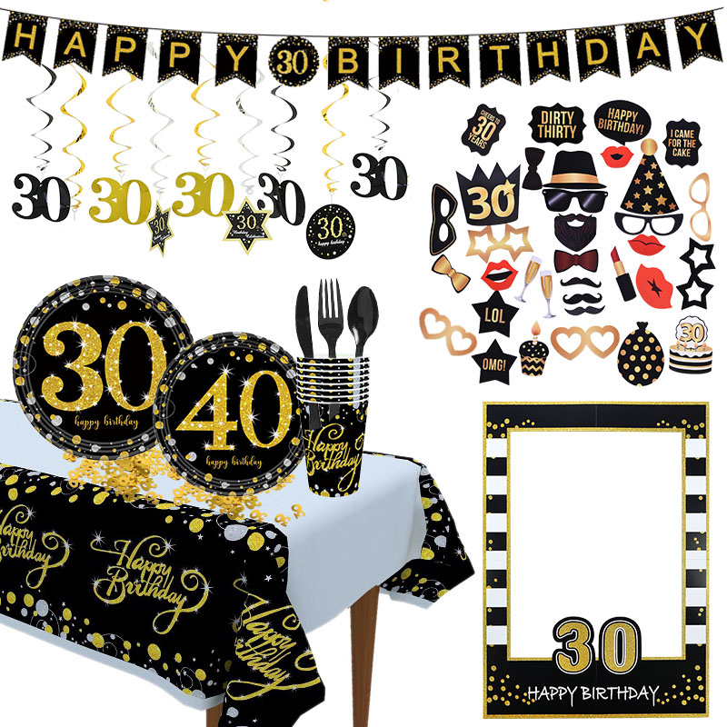 <font><b>18</b></font> 30 40 50 60 Years <font><b>Birthday</b></font> Party <font><b>Decorations</b></font> Black Golden Balloon Happy 40 Years Anniversary Adulte Wedding <font><b>Decoration</b></font> image
