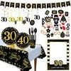 18 30 40 50 60 سنة زينة حفلات عيد الميلاد بالون ذهبي أسود سعيد 40 سنة الذكرى الكبار الزفاف الديكور