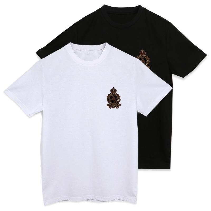 dg New Summer Men TopT-shirt For france Eden Park High Quality Mercerized cotton Material With balman hand-make india silk Badge