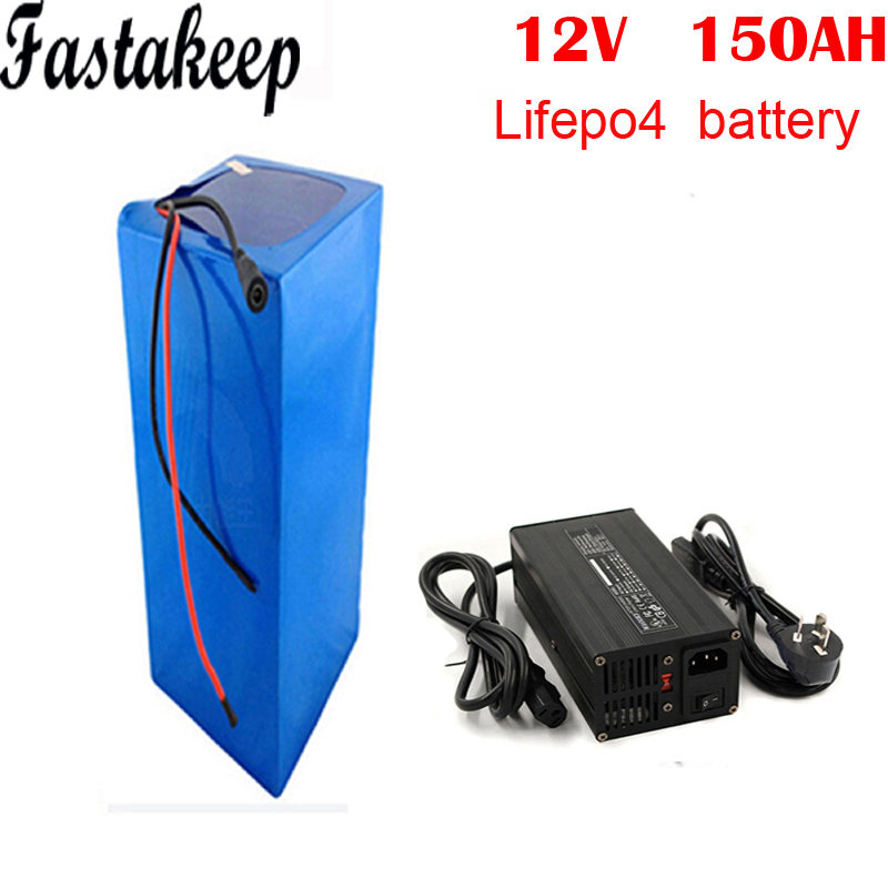 deep cycle power <font><b>lifepo4</b></font> <font><b>12v</b></font> <font><b>150ah</b></font> lithium ion battery pack for solar system/RV/yacht/golf carts storage with 5A charger image