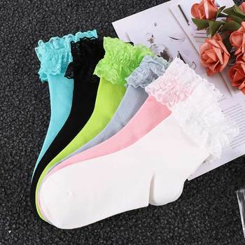 2020 Fashion Vintage Lace Ruffle Frilly Ankle Socks Ladies Princess Girl Favorite Solid 6 Color Available Cotton - discount item  29% OFF Women's Socks & Hosiery