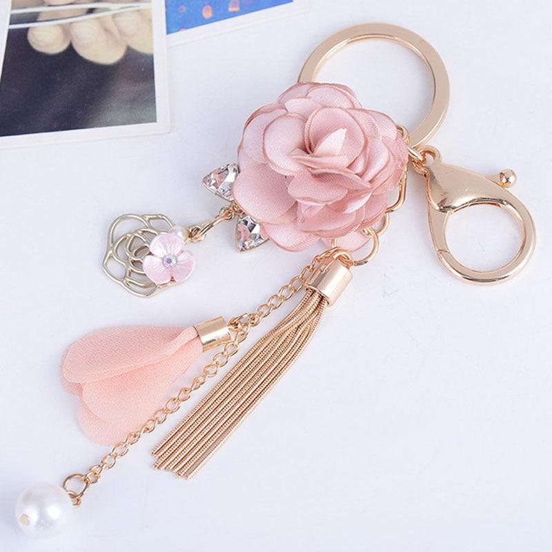 Charme rosa rosa flores chaveiro feminino romântico saco pingente flores chaveiro borla chaveiro jóias presentes trinket