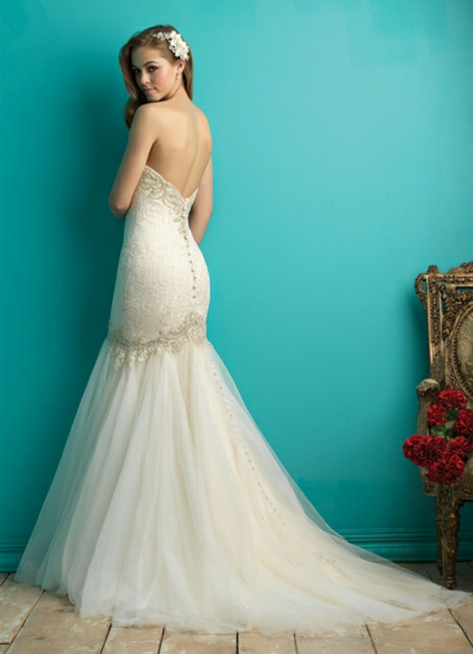 Made To Order Sweetheart Lace Mermaid Wedding Dress Tulle Skirt 2016