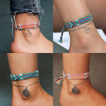 HOCOLE Vintage OM Rune Weave Anklets For Women Handmade Cotton Pendant Anklet Bracelets 2019 Female Beach Foot Jewelry 2Pcs/Set