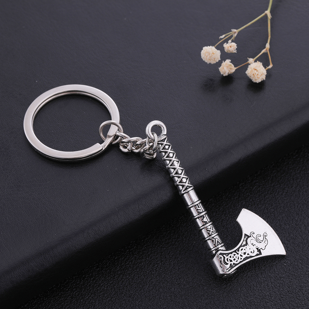 Fishhook Gothic Evil Demon Dragon Axe Hatchet Keychain For Man Irish Knot Pendant Talisman Pagan Amulet Key Chain Gift Jewelry