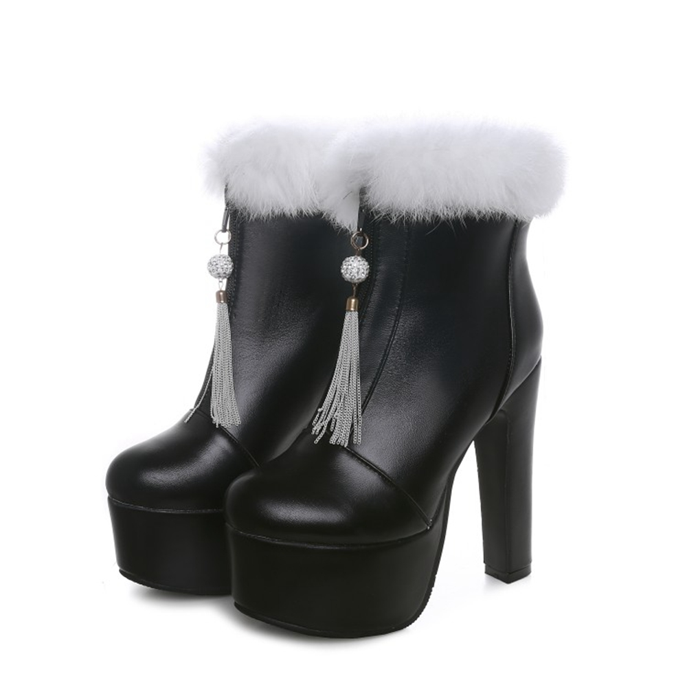 BLXQPYT Ladies Big Size 31-48 Short Woman Mujer Ankle <font><b>Boots</b></font> Sexy Super High <font><b>Heels</b></font> <font><b>14</b></font> <font><b>cm</b></font> Party Wedding Women Shoes Pumps 88-1 image