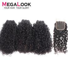 Megalook Funmi 3 пучка s с 4*4 синтетическое закрытие шнурка бразильский телефон завиток человеческие волосы remy для наращивания 3 пучка с закрытием