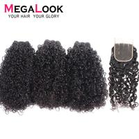 Megalook Funmi 3 Bundles with 4*4 Lace Closure Brazilian Telephone Curl Human Remy Hair Extensions 3 Bundle with Closure