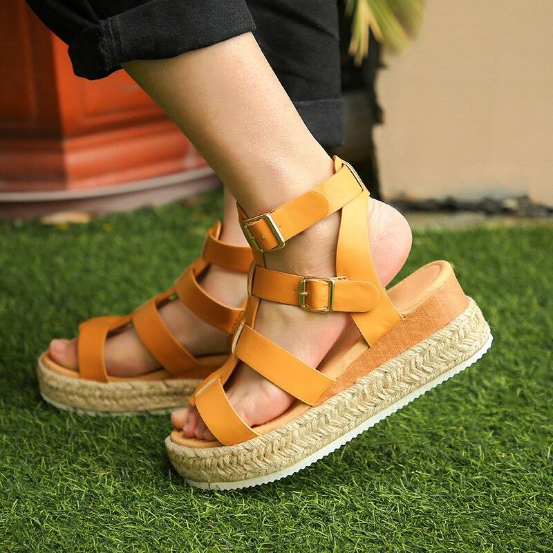 Mais tamanho 35-43 boêmio senhoras sandálias sexy dedo do pé aberto roma sapatos mulher plataforma sandálias moda feminina sandália zapatos de mujer