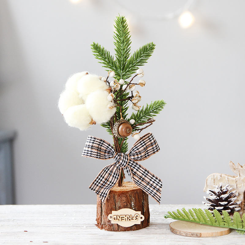 25 Cm Christmas Ornaments Desktop Showcase Mini Christmas Tree Furnishings Potted Plant Section Scene Decorative Decorations