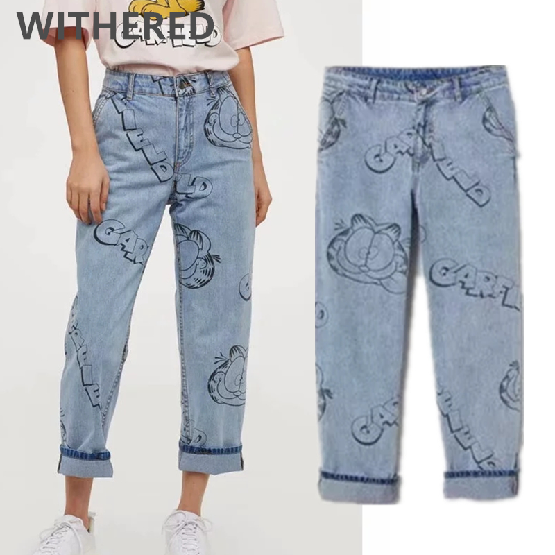 Withered 2020 Spring England High Street Vintage Cartoon Cat Mouse Print Jeans Woman High Waist Jeans Boyfriend Jeans For Women