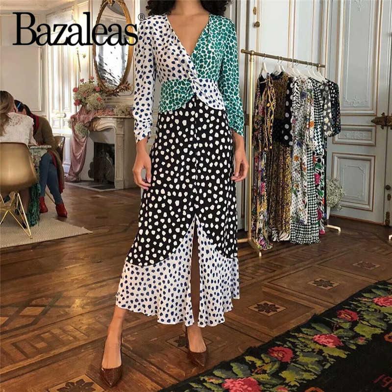 Bazaleas ヴィンテージシフォン女性ミディドレスシックなヒョウ柄パッチワークビーチドレス長袖女性ドレスホリデー vestidos