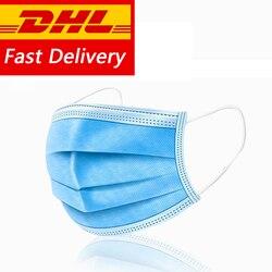Máscara antipolvo de 3 capas para la boca, Máscara protectora de seguridad para gotas de polen, protección desechable DHL Ship100/200 Uds.