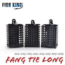 FISH KING 1 шт. 30-100 г, кормушка, квадратная металлическая клетка для приманки, контейнер для приманки, искусственная проволока для ловли карпа, гр...
