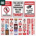 Нет Знак запрета несанкционированного проникновения Предупреждение металлический знак видеонаблюдение знак настенный Декор знак ярда бе...