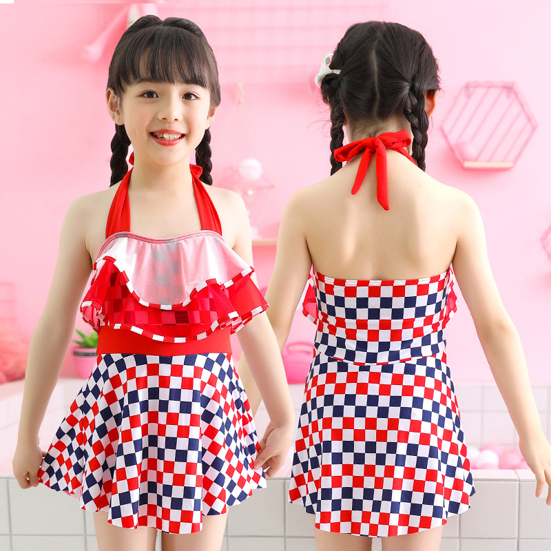 2019 Summer New Products 30-50 Jin Big Boy One-piece GIRL'S Swimsuit Flounced Skirt-Swimwear Nt668072