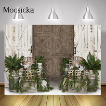 Green Spring Floral Portrait Backdrop Photo Studio Rustic Wood Wall Kids Birthday Art Background Retro Door Easter Photography