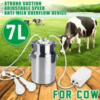 7L Electric Milking Machine for Cattle Goat Stainless Steel Milker Vacuum Pump Bucket Milking Machines Farm Livestock Tool