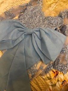 Image 3 - Abiye Arabic Dubai Long Sleeve Mermaid Evening Dresses 2020 Backless Appliques Lace Blue Long Evening Party Gowns For Women