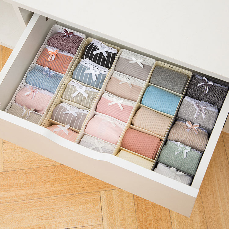5 Grids Wardrobe Storage Box Basket Sock Storage Box Underwear Organizer Bra Underwear Storage Box Plastic Container Organizer