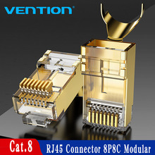 RJ45 Connector FTP Cat8 Gold-Plated Vention 8P8C Ethernet-Cable-Head-Plug Modular
