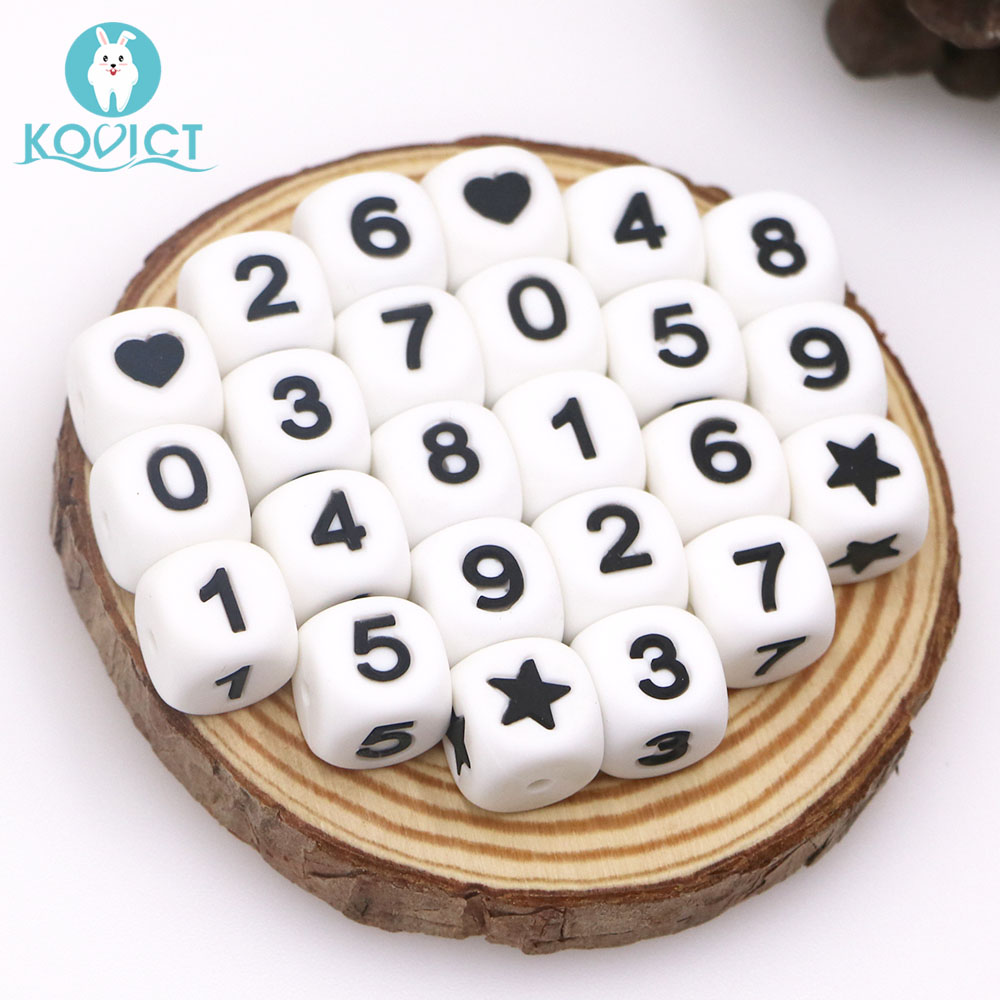 Kovict 12mm Silicone Letters Beads Star/heart /Arabic Numerals Baby Teether Beads Chewing Alphabet Bead