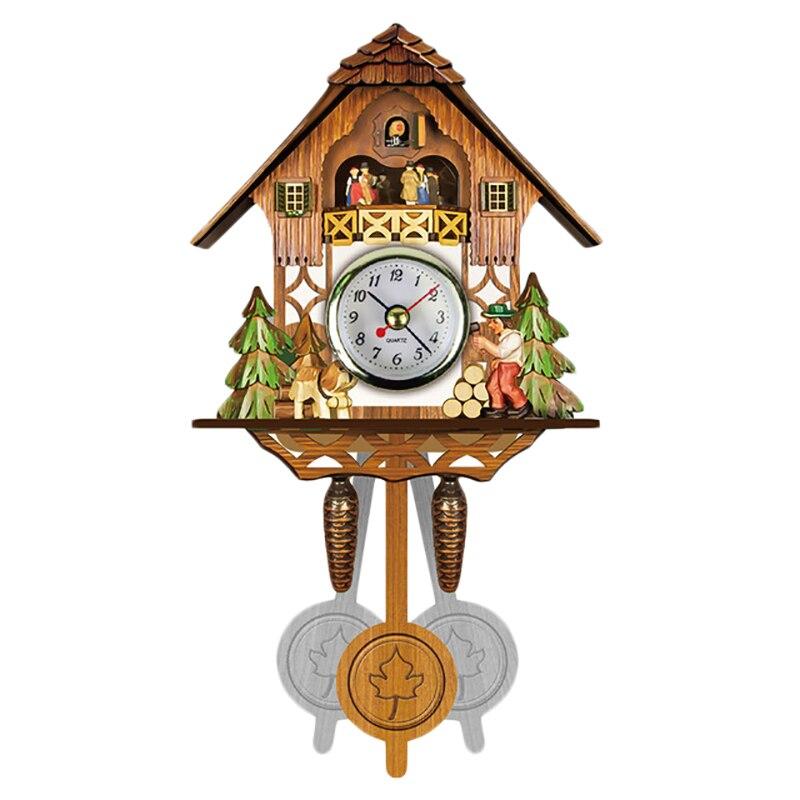 Antique Wooden Cuckoo Wall Clock Bird Time Bell Swing Alarm Watch Home Art Decor 001