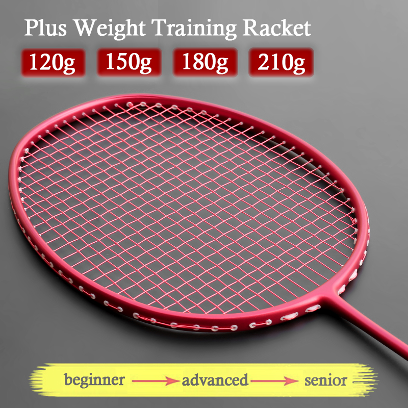Professional Plus Weight Traning Badminton Racket Carbon Fiber 120g 150g 180g 210g Heavy Racktes Sports Speed Padel Racquet