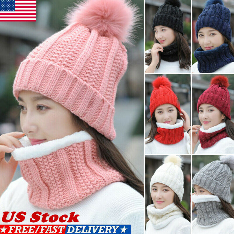 Women Winter Scarf And Hat Set Knitted Warm Beanie Skullcaps Knit Neck Warmer Warm Hat Scarf 2 PCS