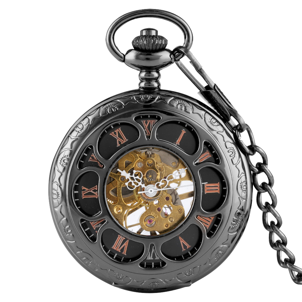 Sunflower Hollow-out Case Pocket Watch With Skeleton Design Mechanical Fob Clock With Chain Best Gift For Men Women Necklace