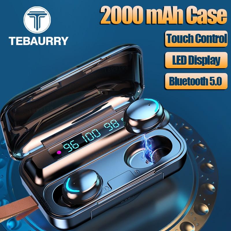 TWS Wireless Bluetooth Earphone Touch 9D Stereo Wireless Headphone Sport Mini Earbud Headset with Microphone 2000mAh Power Bank