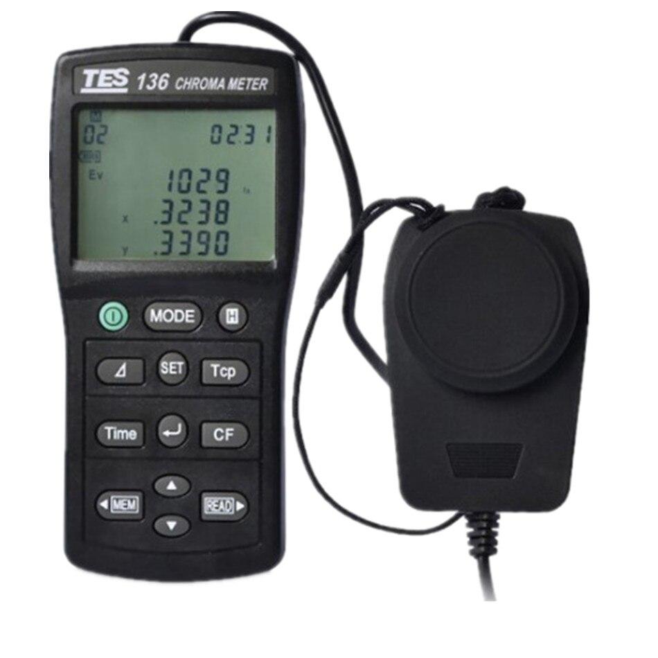 TES 136 Color Temperature Illuminometer Colorimeter LCD Display Environmental Test Light 0.1 to 99990|UV Radiometers| |  - title=