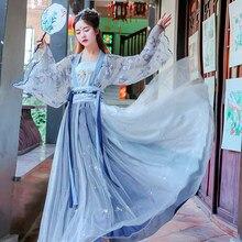 Disfraz tradicional chino Hanfu para mujer, ropa de Cosplay de Hada, traje Oriental del príncipe antiguo