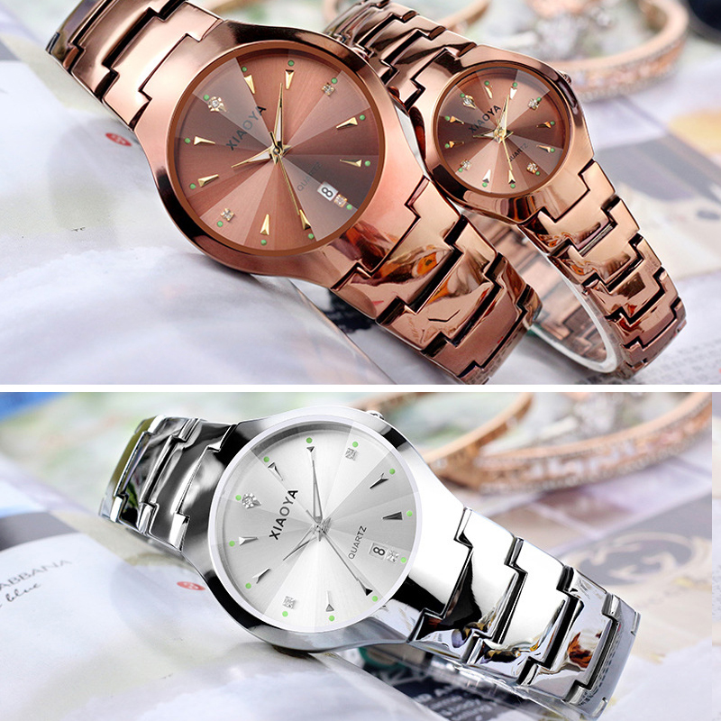 XIAOYA 2019 New Couple  Quartz Watch Women Stainless Steel Watches Relogio Casual Unisex Clock Wristwatch Hot Sale Hour