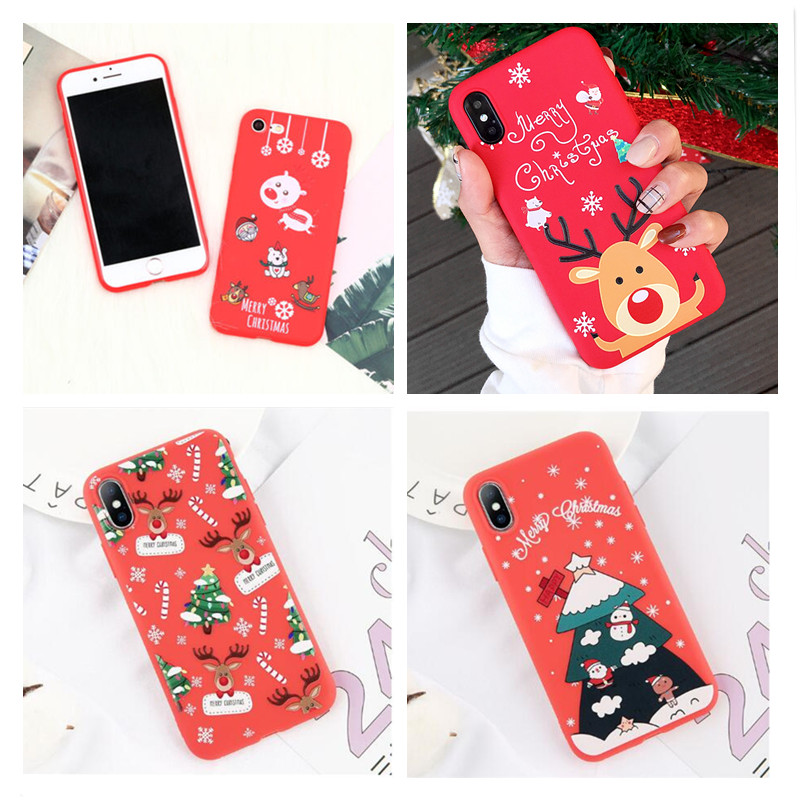 Phone Case For IPhone 6 6s 7 8 Plus X XR XS Max Simple Cartoon Christmas Santa Claus Deer Heart Soft TPU For IPhone X Phone Case