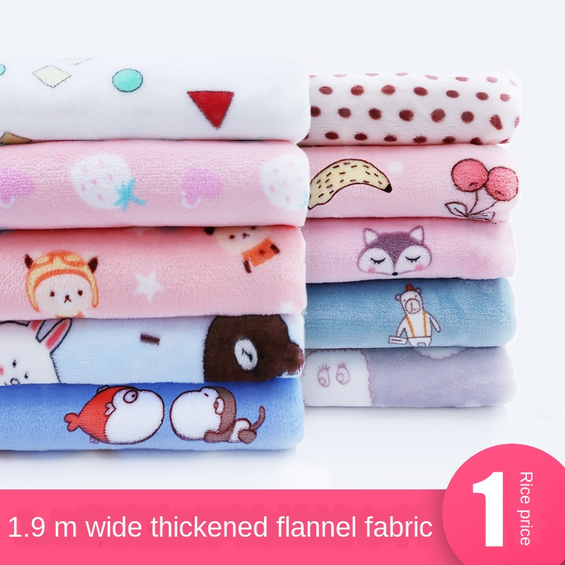Cotton Fabric Double-sided Blanket Pajamas Clothing Baby Cloth Rong Fabric Autumn Flannel Plush Velvet Casual 100% Polyester