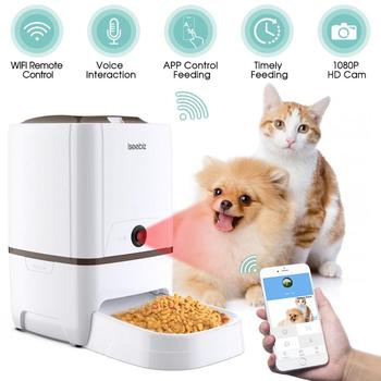 Iseebiz 6L Pet Feeder Wifi Remote Control Smart Automatic Pet Feeder Dogs Cat Food Rechargable With Video Monitor High Quality