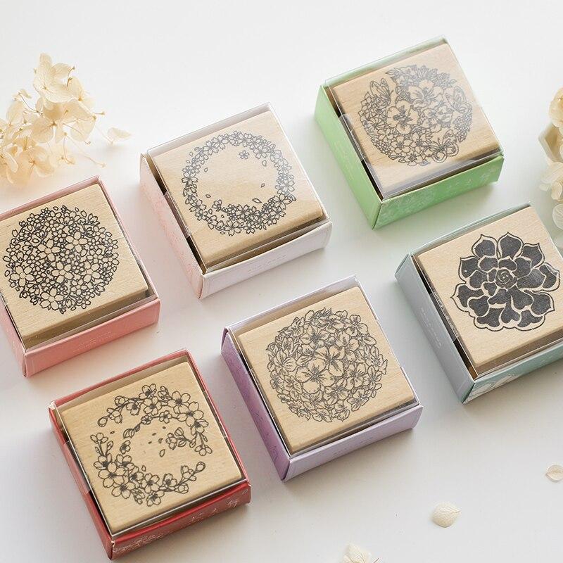 Vintage Wreath Flower Plant Decoration Stamp Wooden Rubber Stamps For Scrapbooking Stationery DIY Craft Standard Stamp