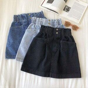 Новинка, женская джинсовая мини-юбка, весна, высокая талия, корейский стиль, черный, синий цвет, повседневные джинсы Harajuku, сексуальные коротк...