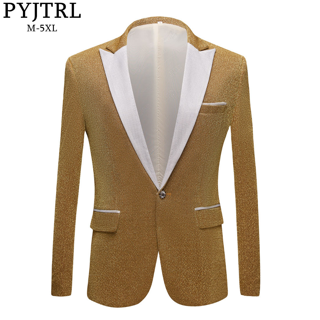 PYJTRL Men's Fashion Shiny Purple Gold Red Black Silver Gray Suit Jacket Wedding Groom Prom Singers Blazers Men Blazer Slim Fit