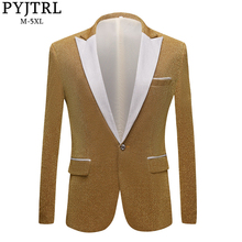 PYJTRL erkek moda parlak mor altın kırmızı siyah gümüş gri takım elbise ceket düğün damat balo şarkıcılar Blazers erkekler Blazer slim Fit