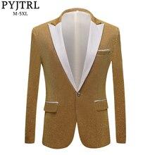 PYJTRL moda męska błyszczące fioletowe złoto czerwony czarny srebrny szary garnitur kurtka ślub Groom Prom piosenkarki Blazers mężczyźni Blazer Slim Fit
