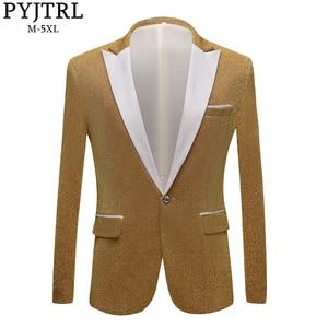 Image 1 - PYJTRL moda męska błyszczące fioletowe złoto czerwony czarny srebrny szary garnitur kurtka ślub Groom Prom piosenkarki Blazers mężczyźni Blazer Slim Fit