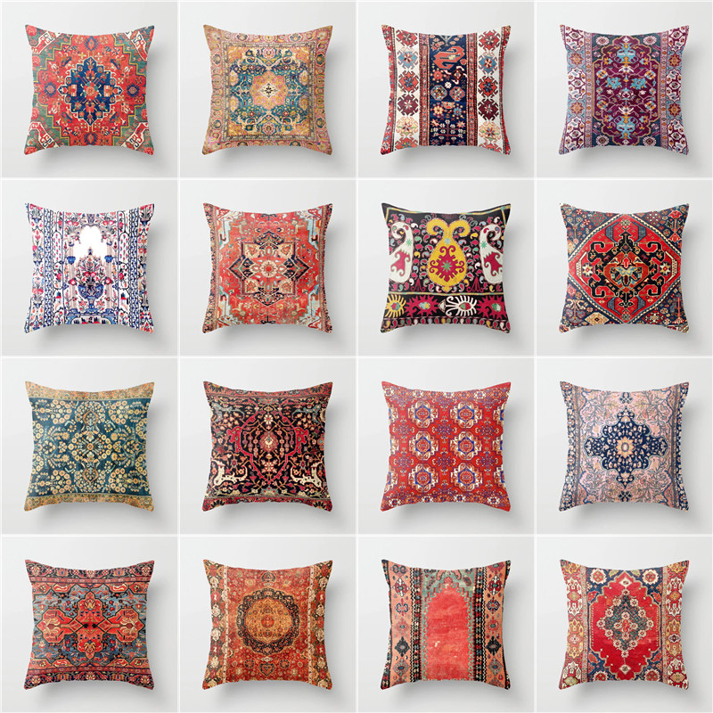 Elife Polyester Cotton Geometric Cushion Cover Square Pillow Case Bohemian Indian Pillows Cover For Sofa Car Waist Home Decor
