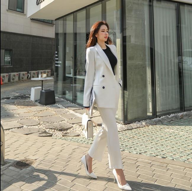Elegant Women Pant Suits Blazer Jacket & 2 Pieces set Pants Fashion Double-breasted Office Lady Style Work Suits ka923