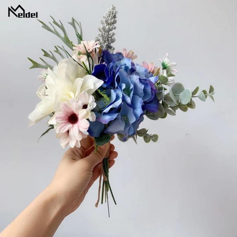 Blue White Silk Roses Wedding Bouquet For Bridesmaids Fake Dahlia Wedding Bouquet Bridal Bouquet Holder Artificial Flowers Decor