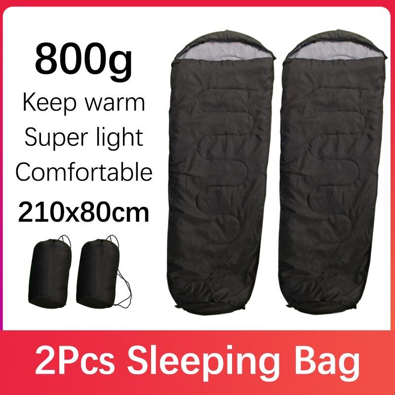 2 Pcs 3 Seasons Camping Sleeping Bag Hood Light Waterproof Backpack Comfortable Warm Skin-friendly Adult Outdoor Travel Bag