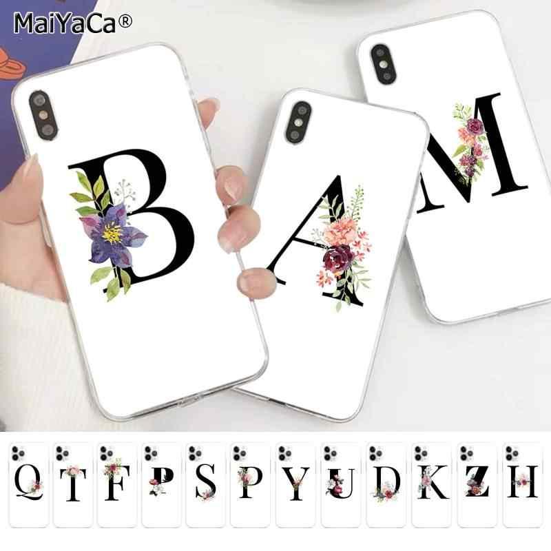Maiyaca a b c flores sorte número e letra preta arte caso telefone do cliente para iphone 11 pro xs max 8 7 6 s plus x 5 5S se xr