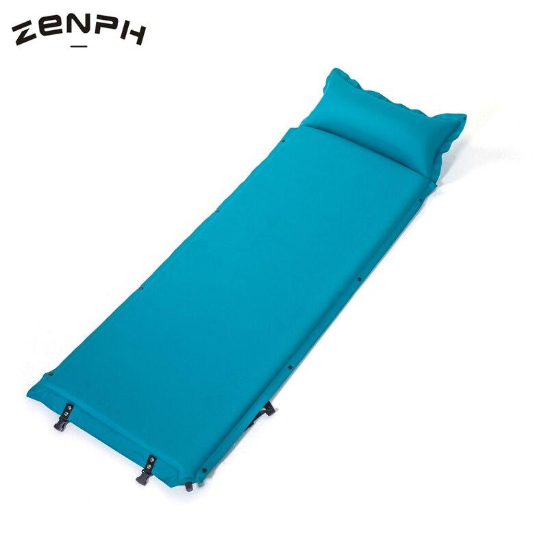 Zenph Outdoor Single Inflatable Mattress Ultralight Sleeping Pads Air Mattresses Camping Hiking Pad With Pillow